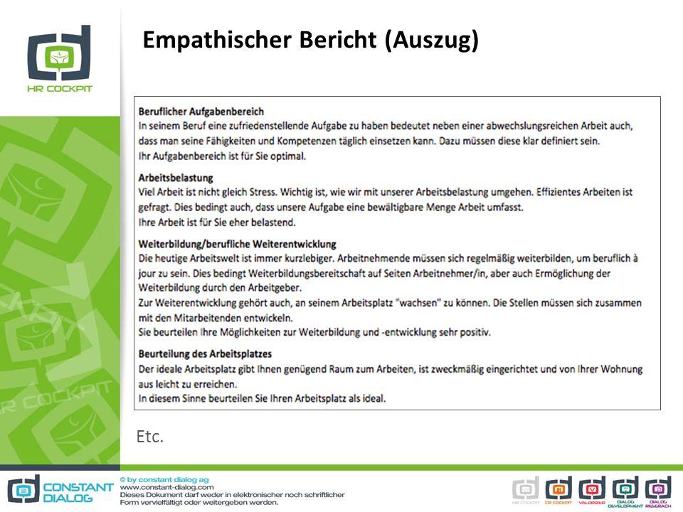 Empathischer Bericht (Auszug)