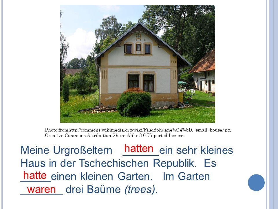 Meine Urgroßeltern ______ein sehr kleines Haus in der Tschechischen Republik. Es _____einen kleinen Garten. Im Garten _______ drei Baüme (trees).