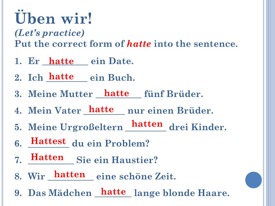 Üben wir! (Let's practice)