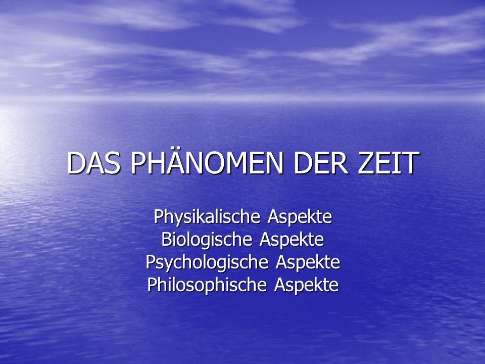 DAS PHÄNOMEN DER ZEIT Physikalische Aspekte Biologische Aspekte