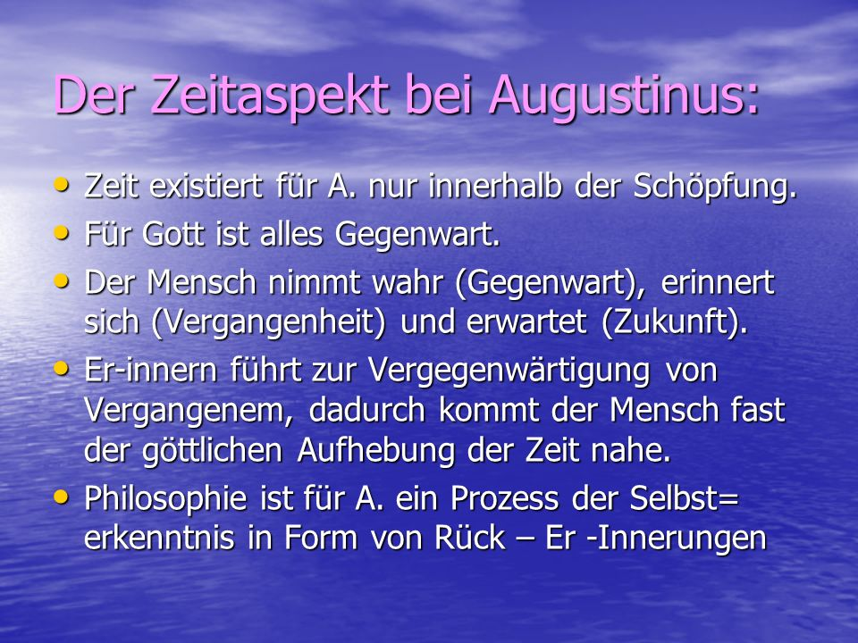 Der Zeitaspekt bei Augustinus:
