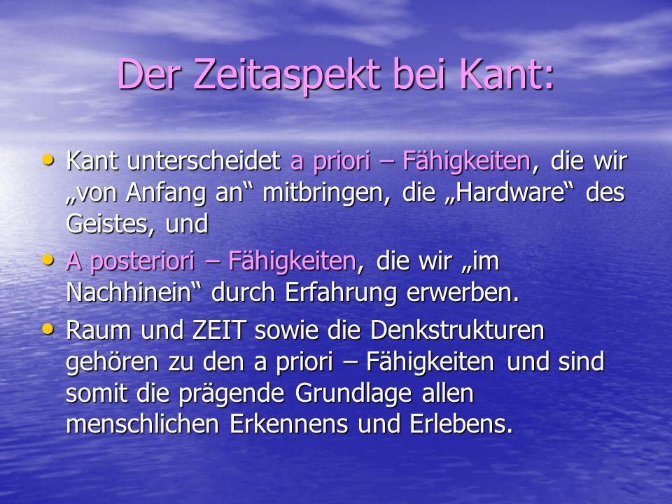 Der Zeitaspekt bei Kant:
