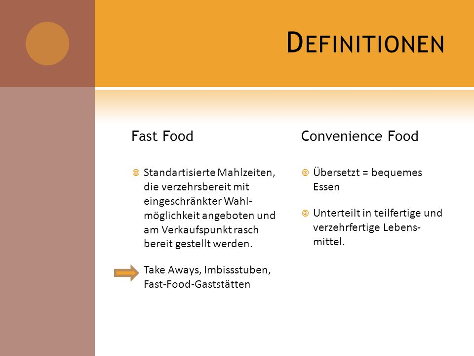 Definitionen Fast Food Convenience Food