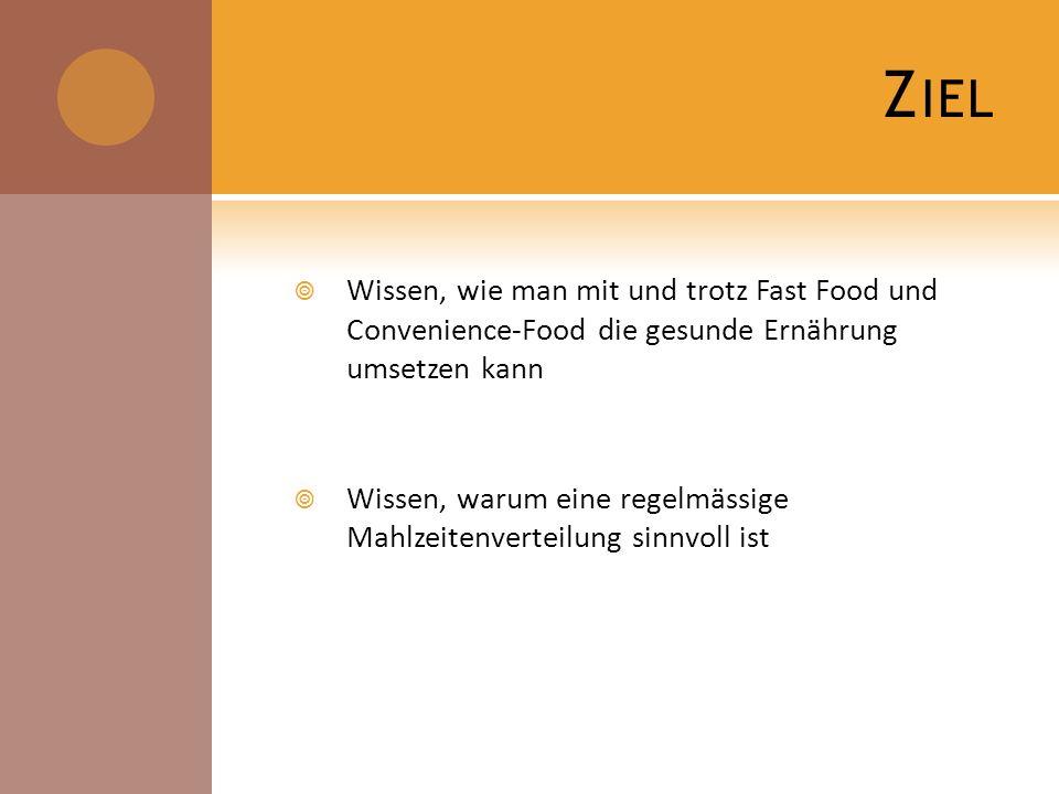 Ziel Wissen, wie man mit und trotz Fast Food und Convenience-Food die gesunde Ernährung umsetzen kann.