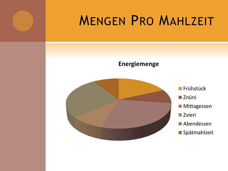 Mengen Pro Mahlzeit FS ca. 20 %, ME und AE ca. 30 %, ZMZ ca. 5 - 10 % kleine ZMZ, grössere HMZ