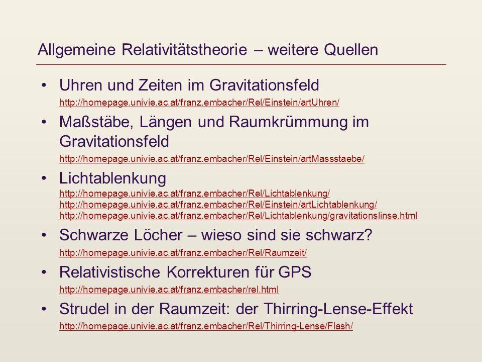 Allgemeine Relativitätstheorie – weitere Quellen