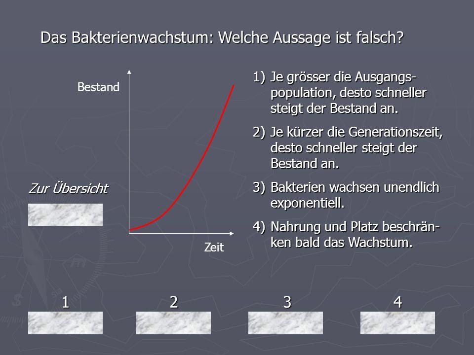 Das Bakterienwachstum: Welche Aussage ist falsch