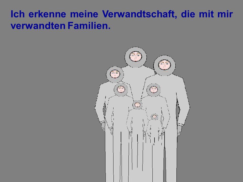 Ich erkenne meine Verwandtschaft, die mit mir verwandten Familien.