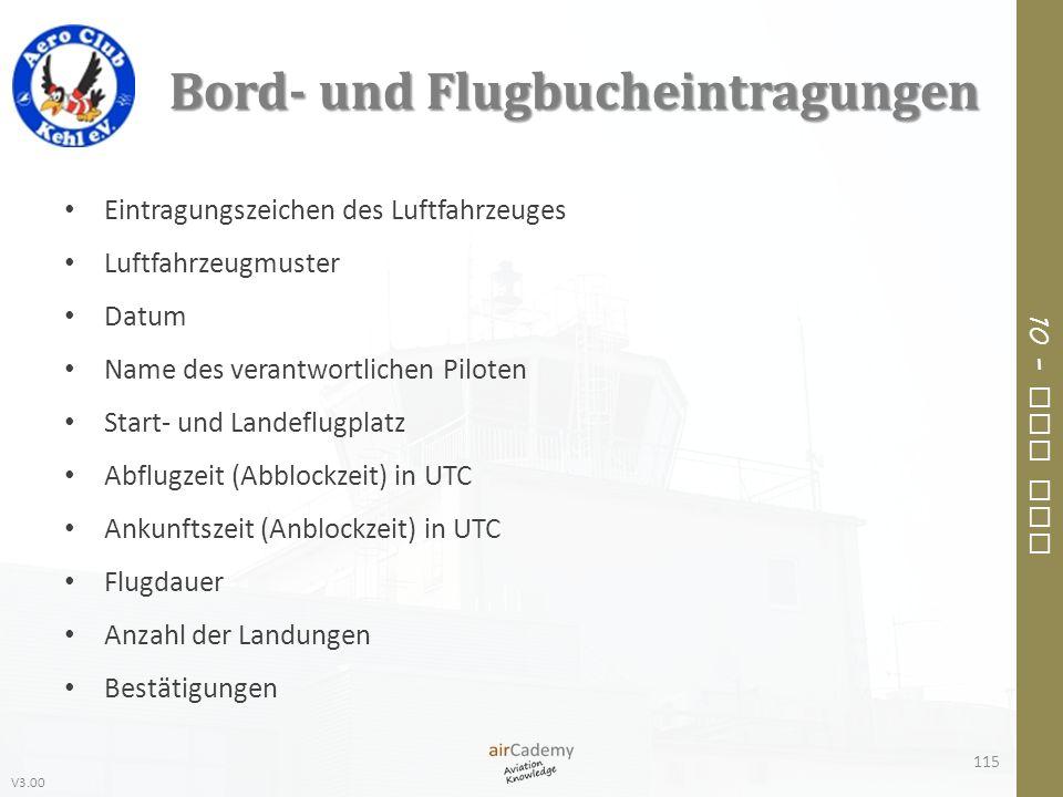 Bord- und Flugbucheintragungen