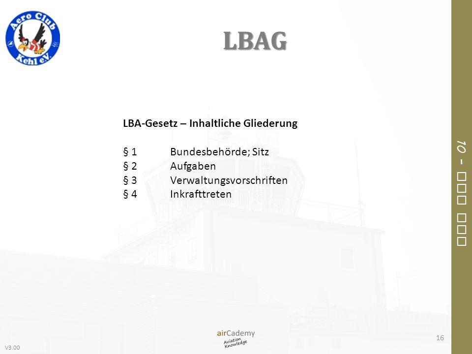 LBAG LBA-Gesetz – Inhaltliche Gliederung § 1 Bundesbehörde; Sitz