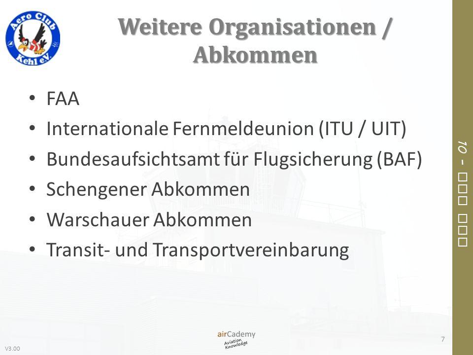 Weitere Organisationen / Abkommen