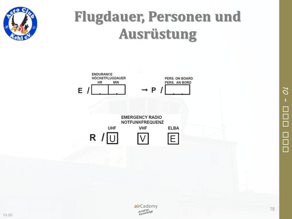 Flugdauer, Personen und Ausrüstung