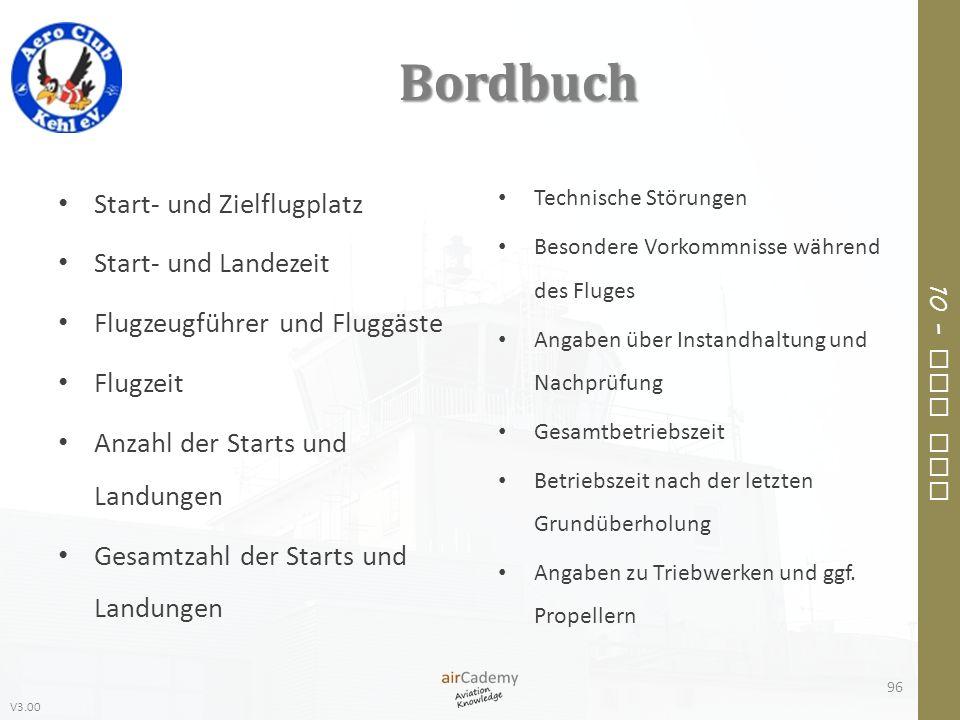 Bordbuch Start- und Zielflugplatz Start- und Landezeit