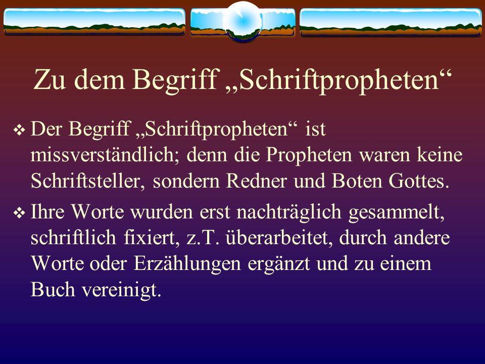 """Zu dem Begriff """"Schriftpropheten"""