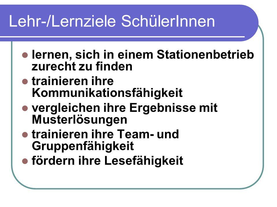 Lehr-/Lernziele SchülerInnen