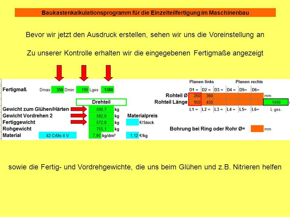 Baukastenkalkulationsprogramm für die Einzelteilfertigung im Maschinenbau