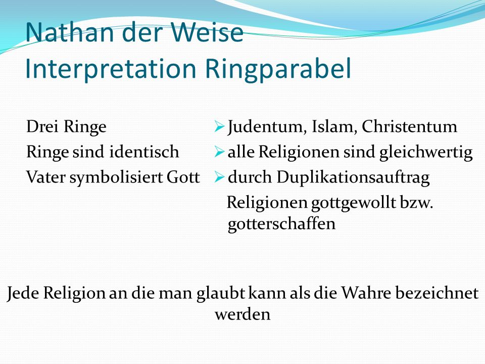 Nathan der Weise Interpretation Ringparabel
