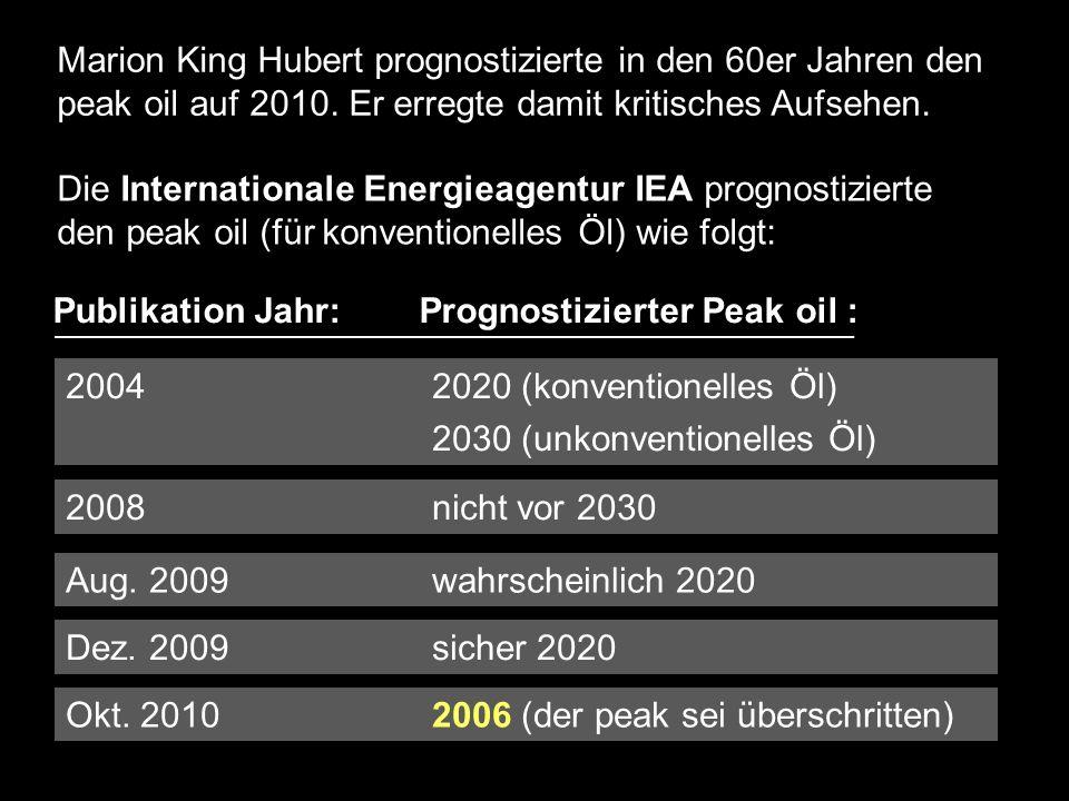 Marion King Hubert prognostizierte in den 60er Jahren den peak oil auf 2010. Er erregte damit kritisches Aufsehen.