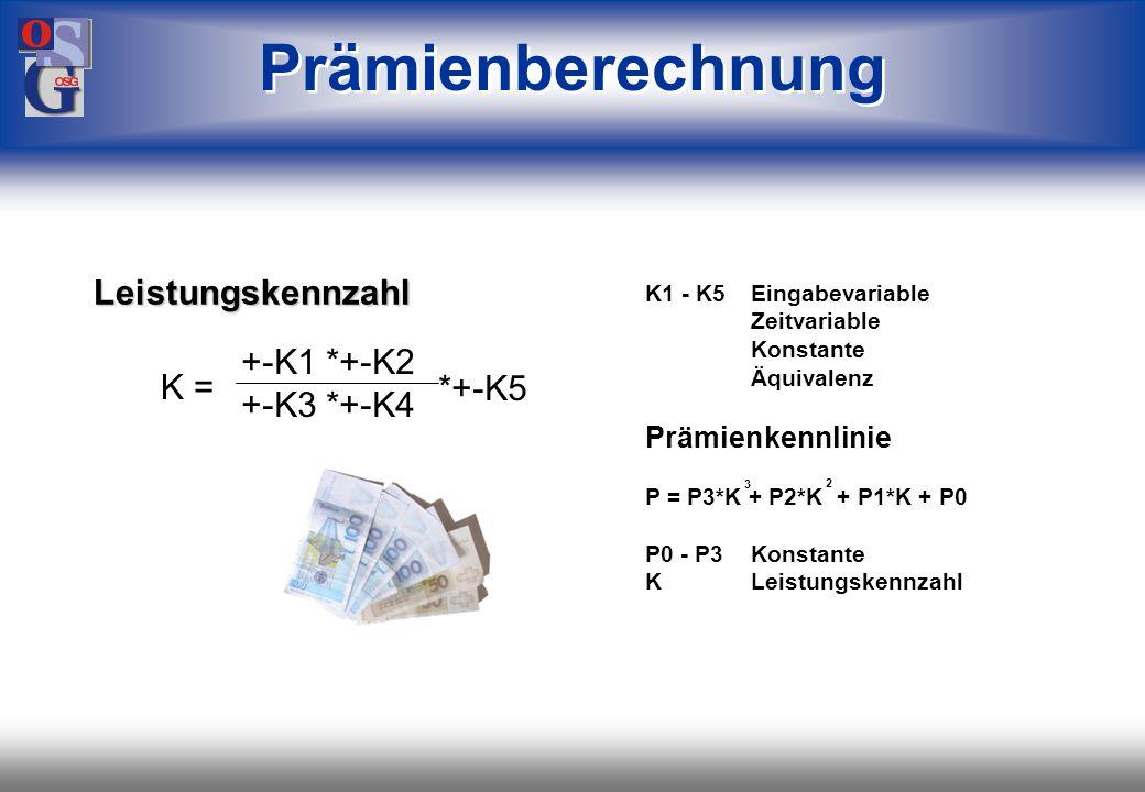 Prämienberechnung Leistungskennzahl +-K1 *+-K2 +-K3 *+-K4 K = *+-K5
