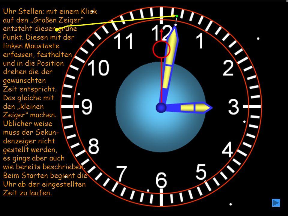 Uhr Stellen; mit einem Klick