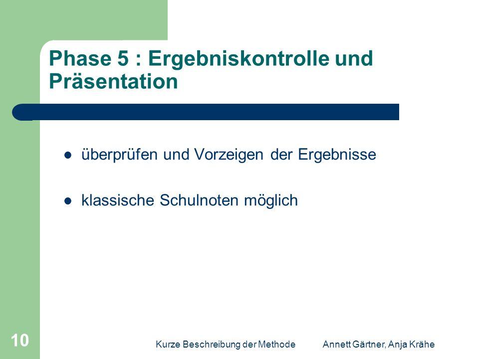 Phase 5 : Ergebniskontrolle und Präsentation