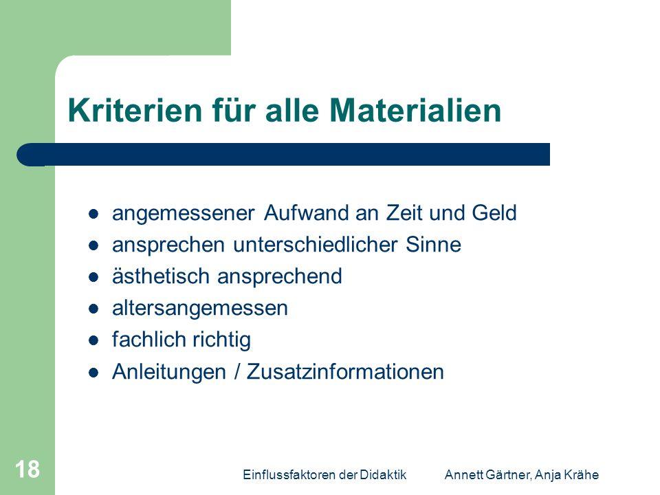 Kriterien für alle Materialien