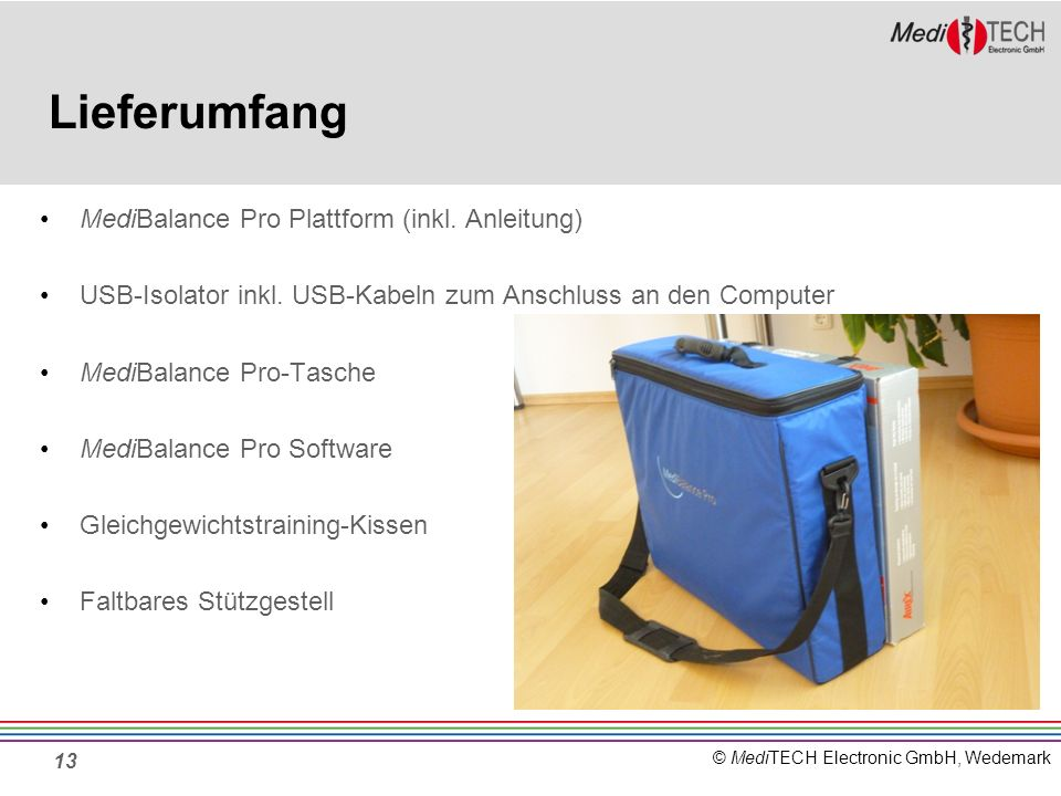 Lieferumfang MediBalance Pro Plattform (inkl. Anleitung)