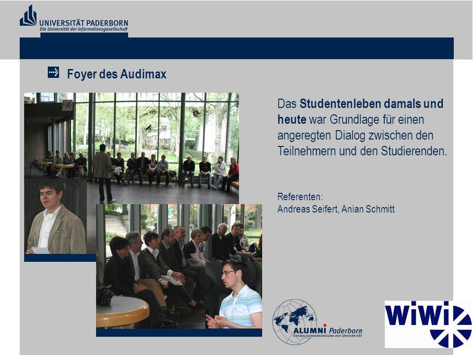 Foyer des Audimax Das Studentenleben damals und heute war Grundlage für einen angeregten Dialog zwischen den Teilnehmern und den Studierenden.