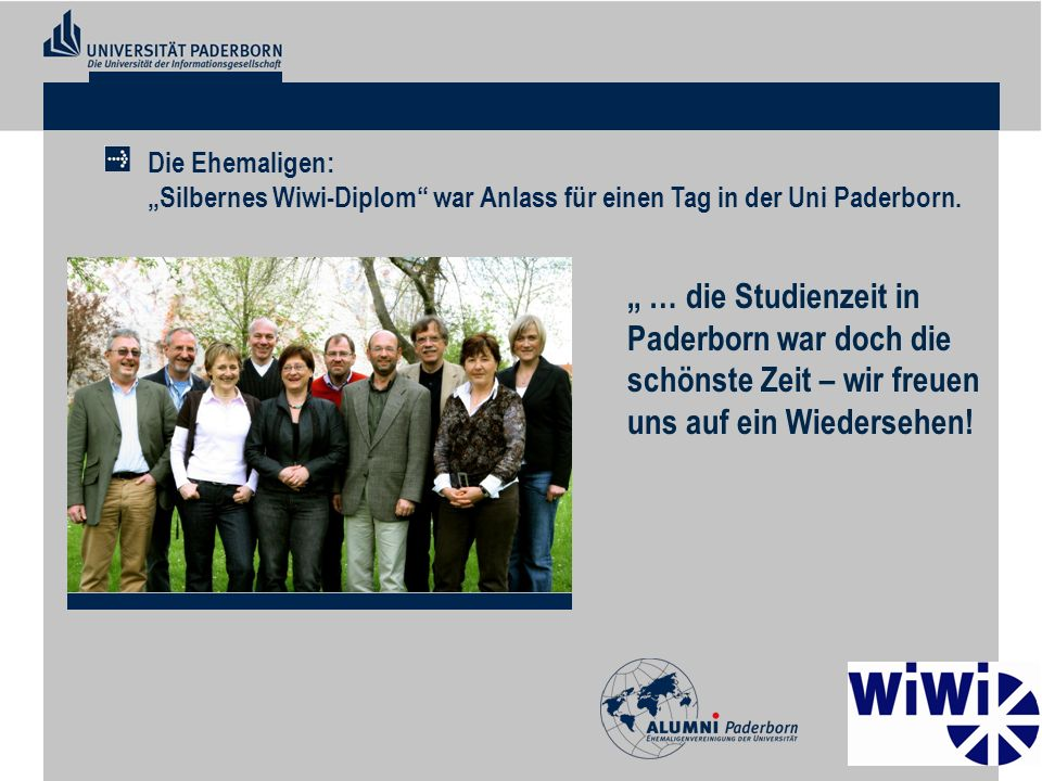 """Die Ehemaligen: """"Silbernes Wiwi-Diplom war Anlass für einen Tag in der Uni Paderborn."""
