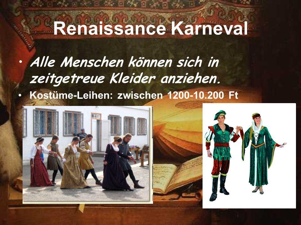 Renaissance Karneval Alle Menschen können sich in zeitgetreue Kleider anziehen.