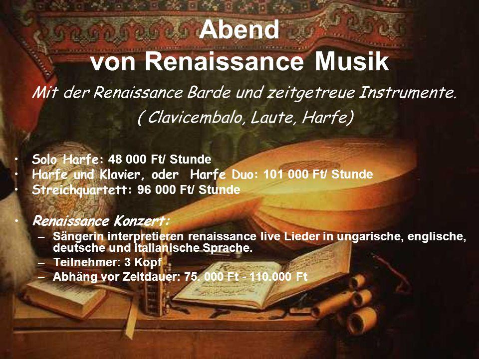 Abend von Renaissance Musik