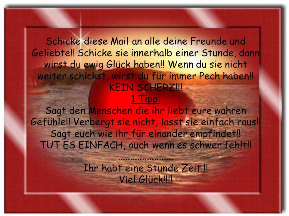 Schicke diese Mail an alle deine Freunde und Geliebte