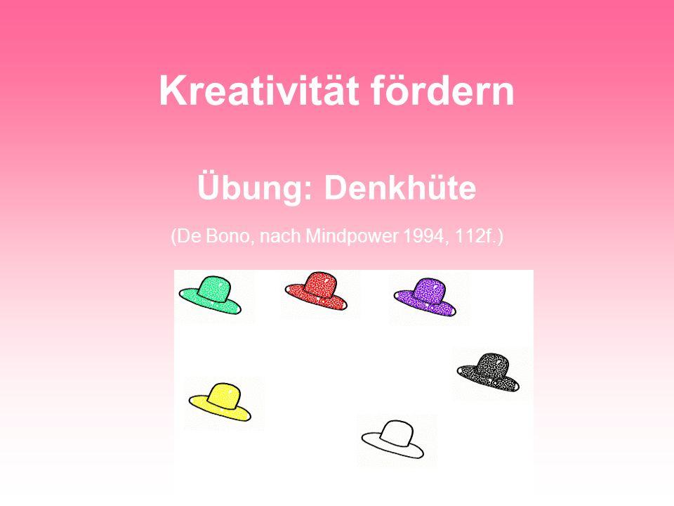 Übung: Denkhüte (De Bono, nach Mindpower 1994, 112f.)