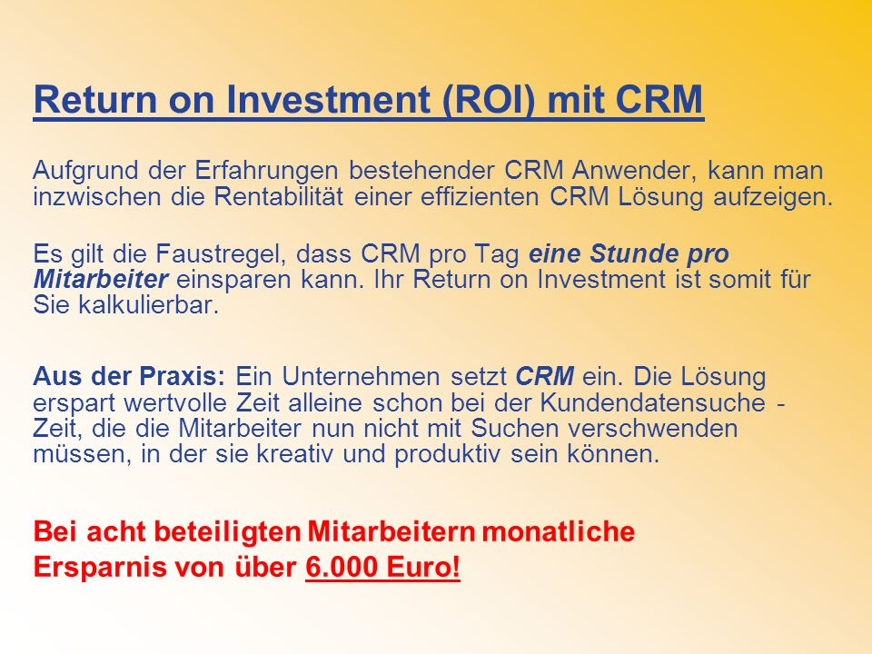 Return on Investment (ROI) mit CRM