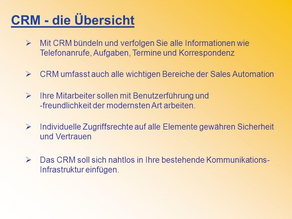 CRM - die Übersicht Mit CRM bündeln und verfolgen Sie alle Informationen wie Telefonanrufe, Aufgaben, Termine und Korrespondenz.