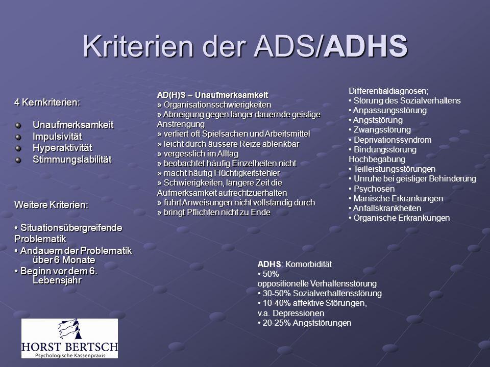 Kriterien der ADS/ADHS