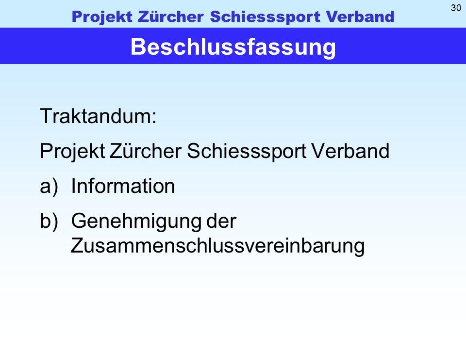Beschlussfassung Traktandum: Projekt Zürcher Schiesssport Verband