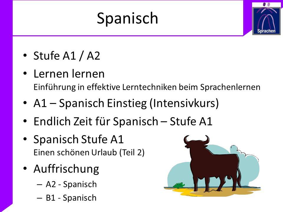 SpanischStufe A1 / A2. Lernen lernen Einführung in effektive Lerntechniken beim Sprachenlernen. A1 – Spanisch Einstieg (Intensivkurs)