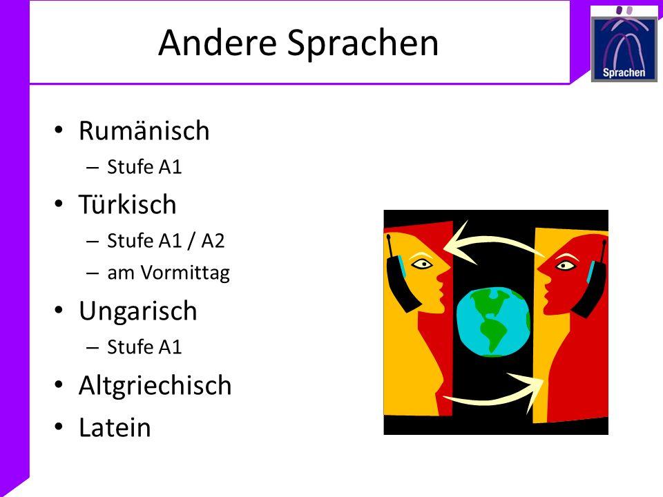 Andere Sprachen Rumänisch Türkisch Ungarisch Altgriechisch Latein