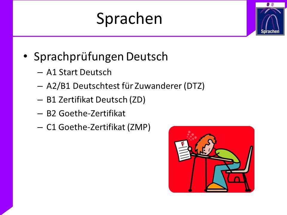 Sprachen Sprachprüfungen Deutsch A1 Start Deutsch