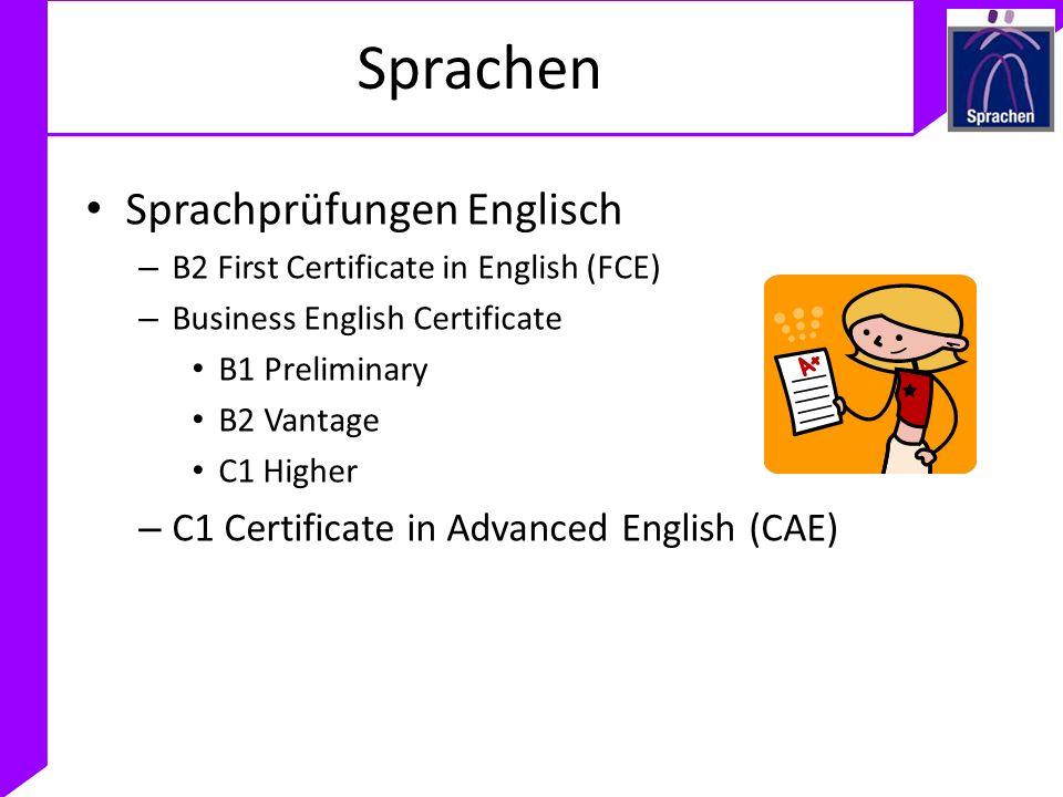 Sprachen Sprachprüfungen Englisch