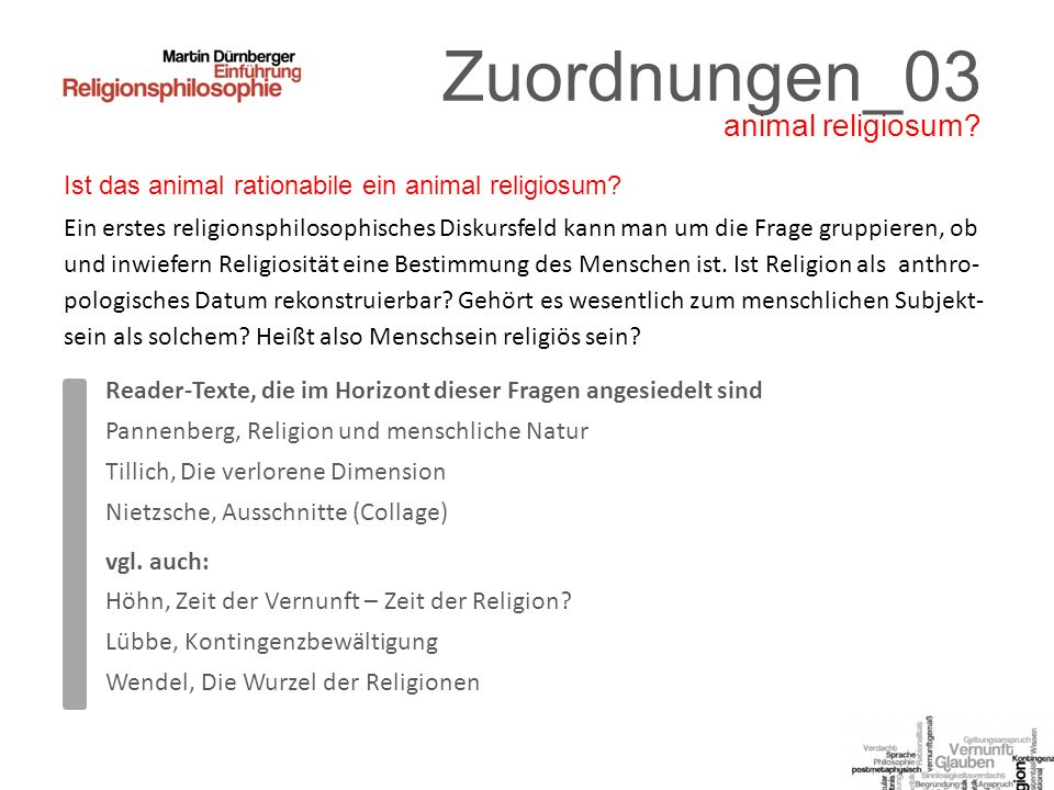 Zuordnungen_03 animal religiosum