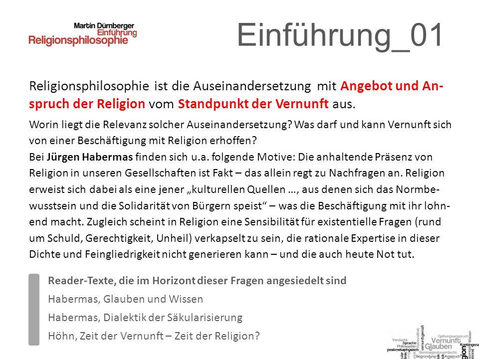Einführung_01 Religionsphilosophie ist die Auseinandersetzung mit Angebot und An- spruch der Religion vom Standpunkt der Vernunft aus.