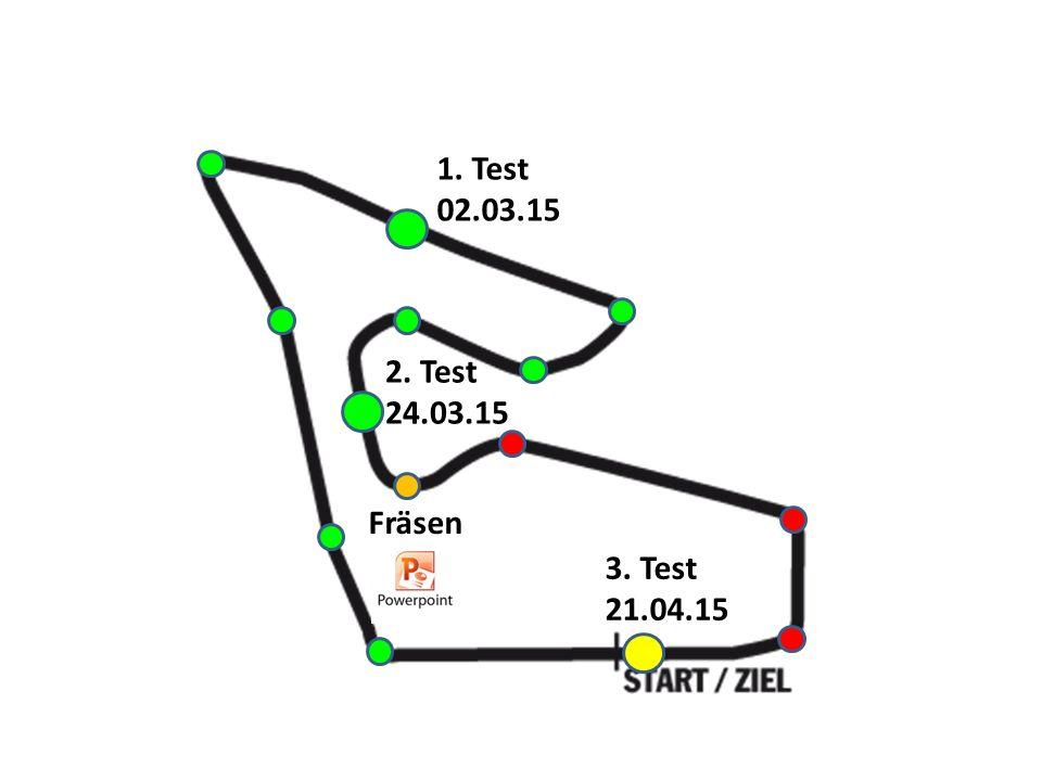 1. Test 02.03.15 2. Test 24.03.15 Fräsen 3. Test 21.04.15