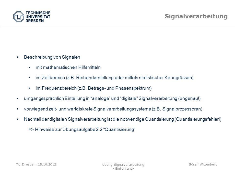 Signalverarbeitung Beschreibung von Signalen