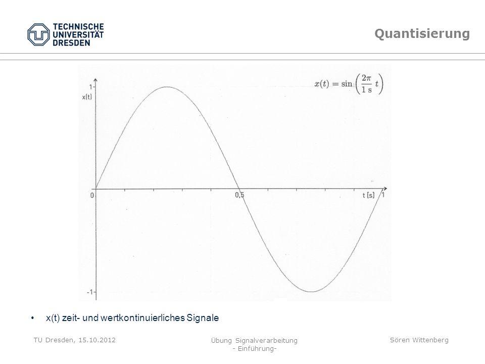 Quantisierung x(t) zeit- und wertkontinuierliches Signale