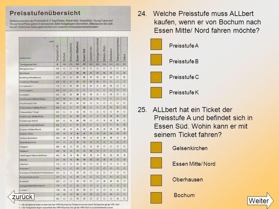 24. Welche Preisstufe muss ALLbert kaufen, wenn er von Bochum nach Essen Mitte/ Nord fahren möchte
