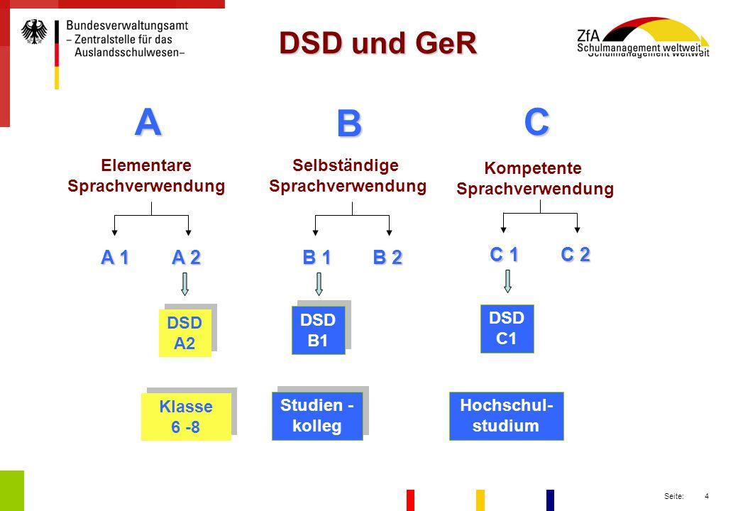 A B C DSD und GeR A 1 A 2 B 1 B 2 C 1 C 2 Elementare Sprachverwendung