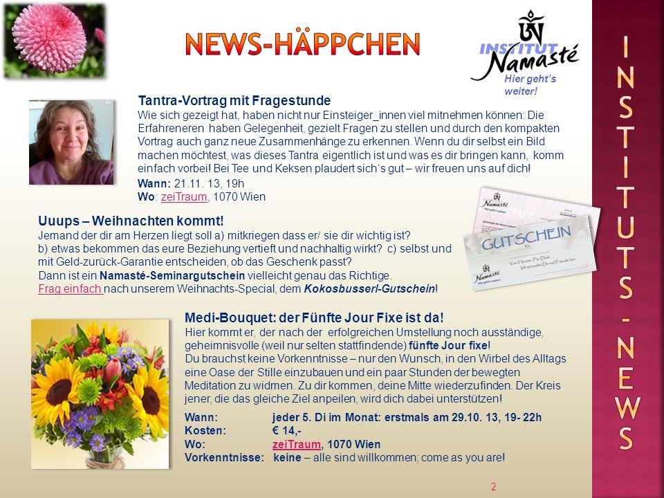 Instituts -news News-Häppchen Tantra-Vortrag mit Fragestunde