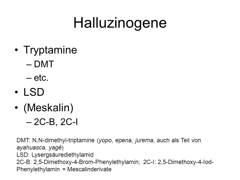 Halluzinogene Tryptamine LSD (Meskalin) DMT etc. 2C-B, 2C-I